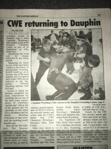 CWE Featured In The Dauphin Herald. - Canadian Wrestlings
